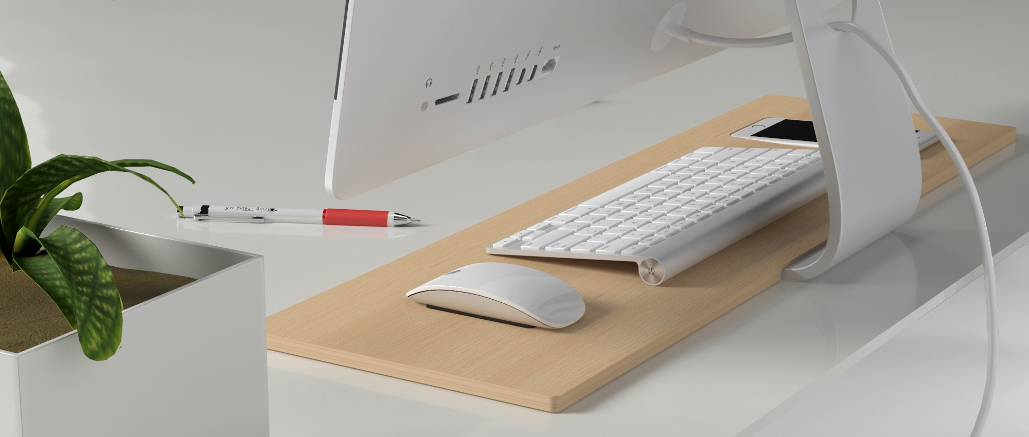 Tamm iPhone 6 Plus Dock & iMac Desk Organizer